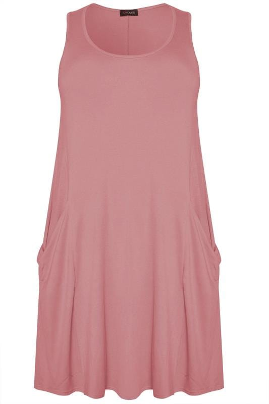 Dusty Pink Sleeveless Drape Pocket Dress