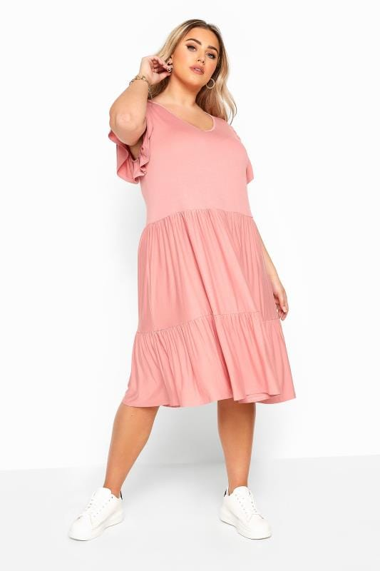 Dusty Pink Tiered Smock Dress
