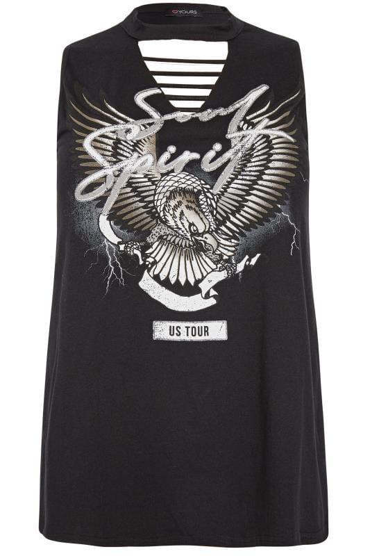 Black Ripped Slogan Vest Top