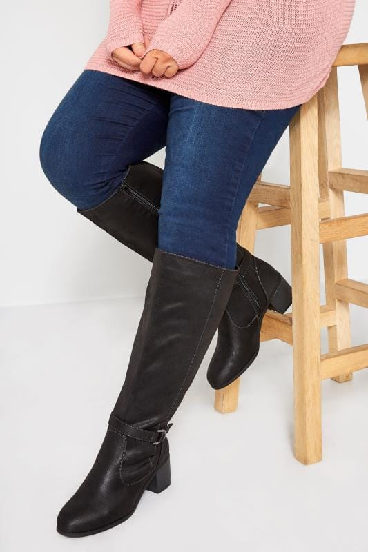 Wide Fit Knee High Boots Black Faux Suede Knee High Boots In Extra Wide Fit