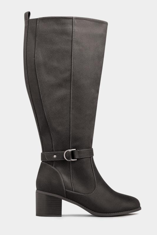 Black Faux Suede Knee High Boots In Extra Wide Fit
