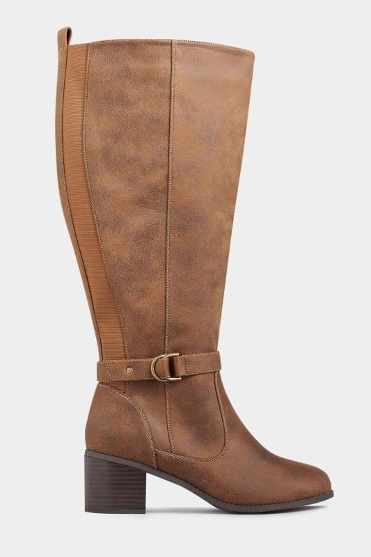 Tan Faux Suede Knee High Boots In Extra Wide Fit