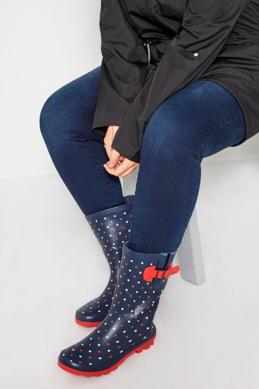 Navy & Red Polka Dot Wellies In Extra Wide Fit