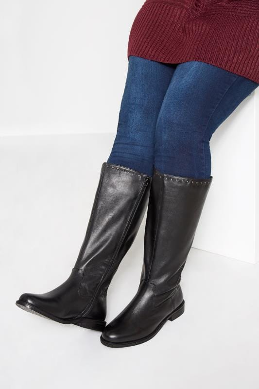 Plus Size Knee High Boots Black Leather Stud Trim Knee High Boots In Extra Wide Fit