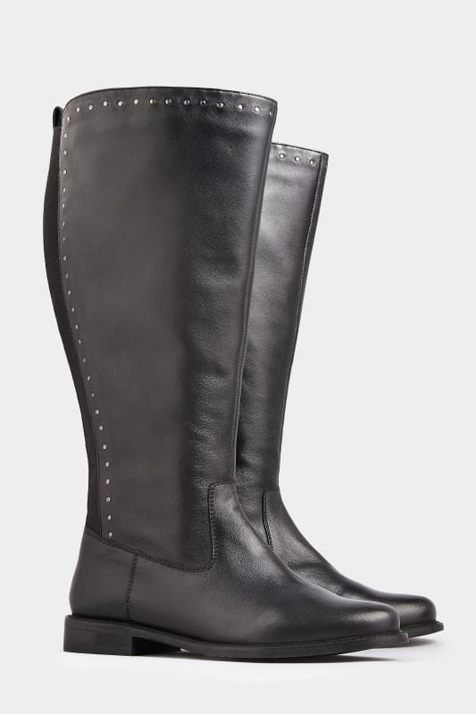 Black Leather Stud Trim Knee High Boots In Extra Wide Fit