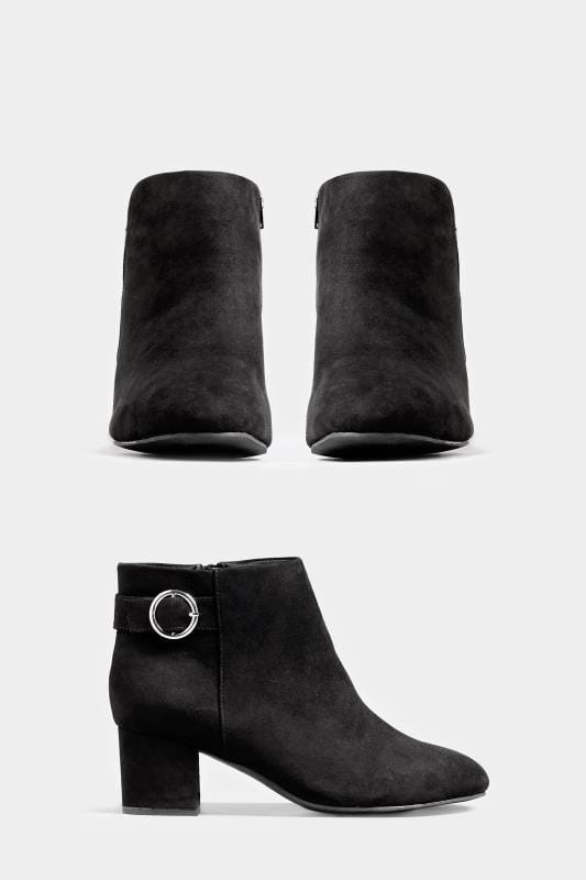 Black Round Buckle Heeled Ankle Boots In Extra Wide Fit