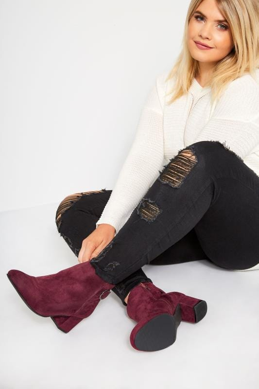 Plus Size Ankle Boots Burgundy Round Buckle Heeled Ankle Boots In Extra Wide Fit
