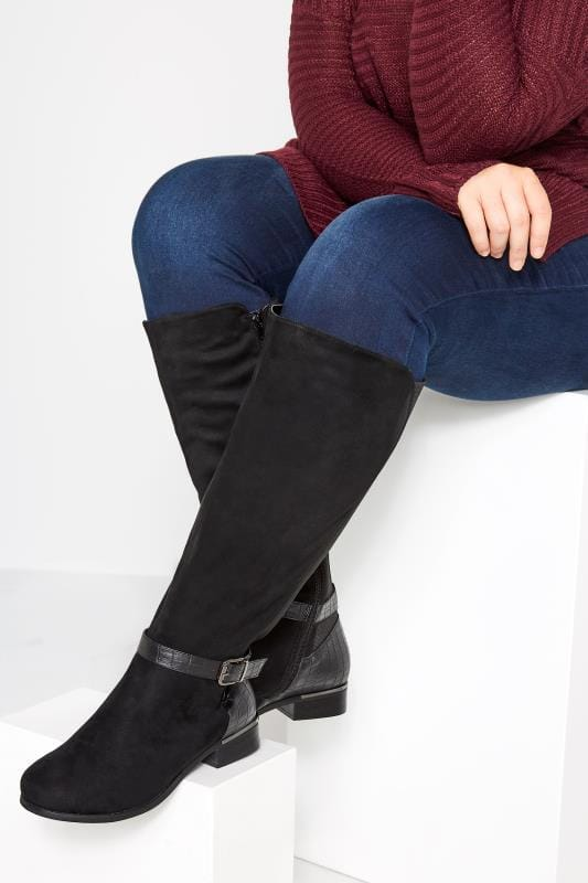 Plus Size Knee High Boots Black Stretch Faux Suede Knee High Boots In Extra Wide Fit