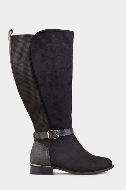 Yours Black Stretch Vegan Suede Knee High Boots In Extra Wide Fit
