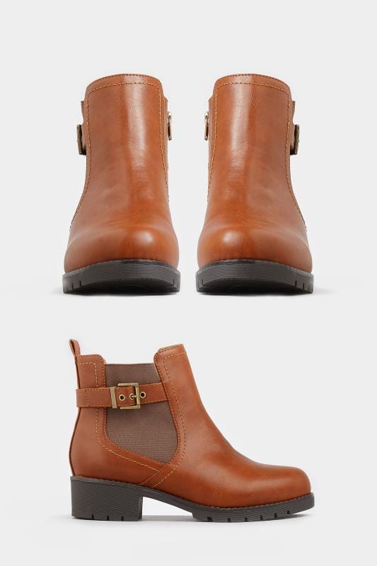 Yours Tan Chelsea Buckle Ankle Boots In Extra Wide Fit