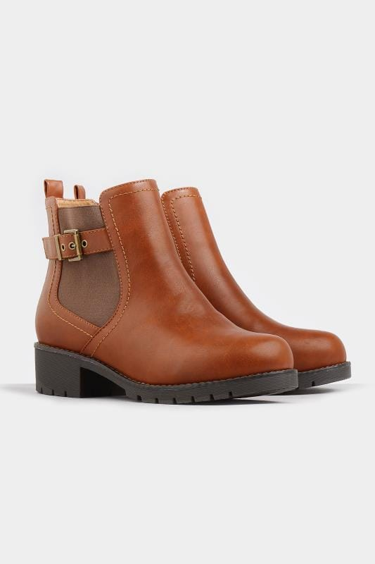 Tan Chelsea Buckle Ankle Boots In Extra Wide Fit
