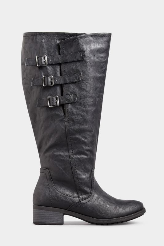 Yours Black Knee High Boots In Extra Wide Fit With Adjustable Straps
