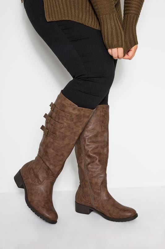 Brown Buckled Knee High Boots In Extra Wide Fit