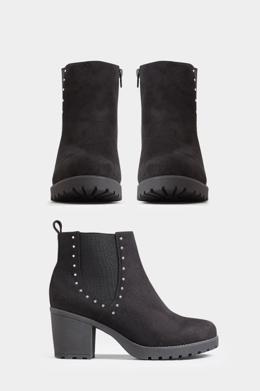 Wide Fit Ankle Boots Black Heeled Studded Chelsea Boots In Wide Fit