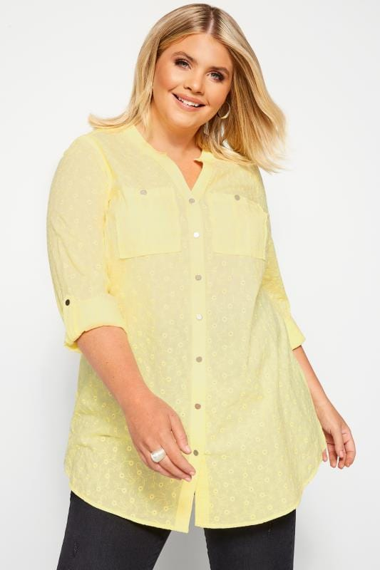 Plus Size Shirts Yellow Floral Embroidered Shirt
