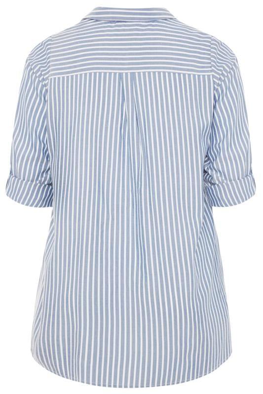 Blue Striped Floral Embellished Shirt