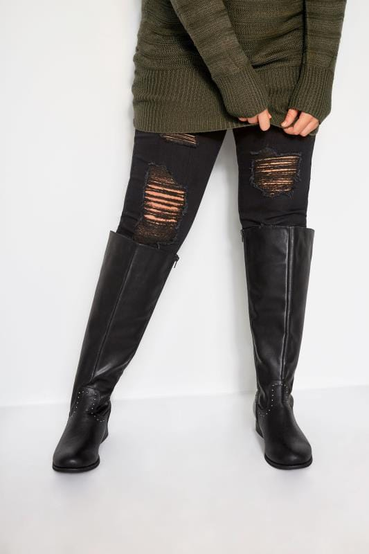 Plus Size Knee High Boots Black Studded Trim Stretch Knee High Boots In Extra Wide Fit