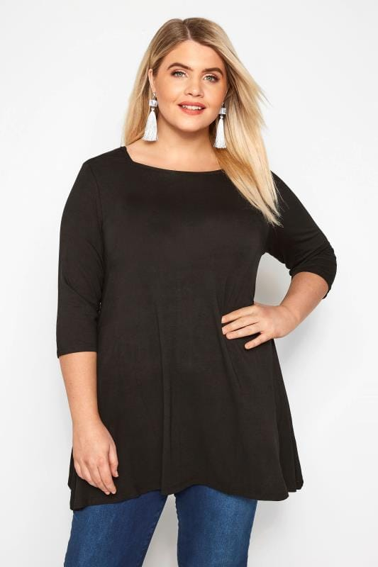 Plus Size Day Tops Black Jersey Longline Top
