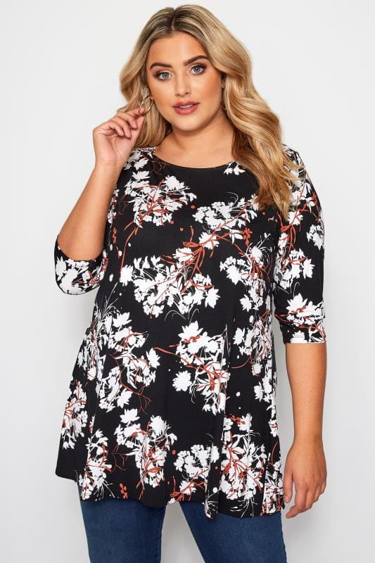 Plus Size Jersey Tops Black & Rust Floral Jersey Swing Top