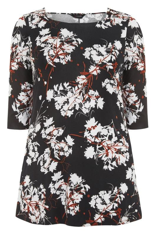 Black & White Floral Jersey Swing Top