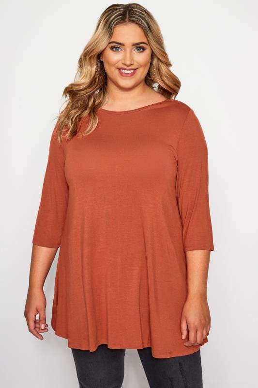 Plus Size Jersey Tops Rust Envelope Neck Jersey Top
