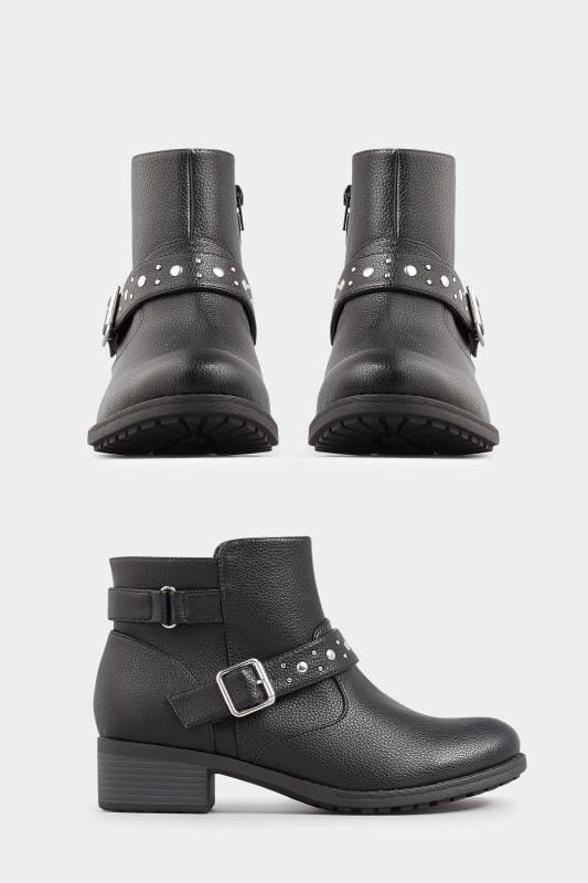 Black Studded Buckle Ankle Boots In Extra Wide Fit