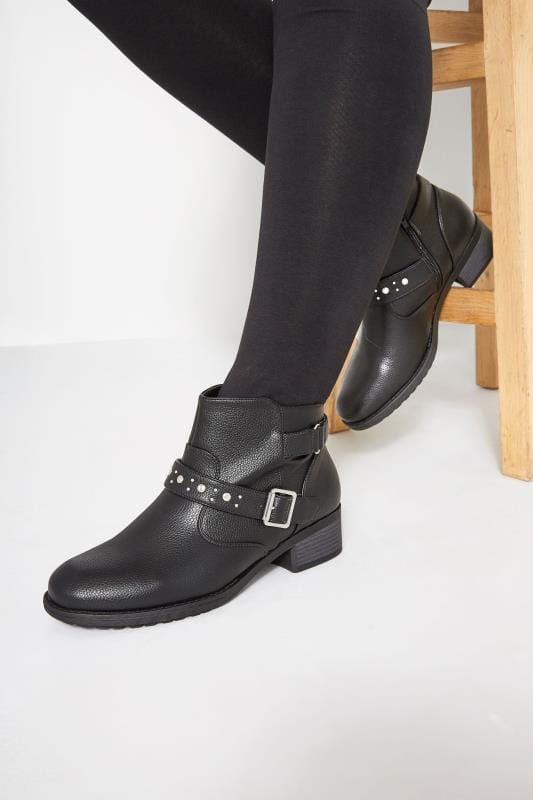 Wide Fit Ankle Boots Black Studded Buckle Ankle Boots In Extra Wide Fit
