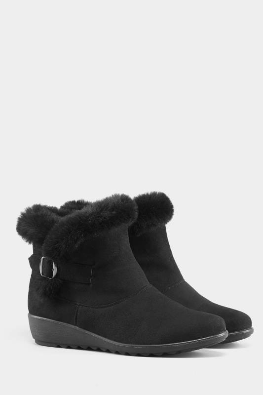 Black Faux Fur Trim Wedge Ankle Boot In Extra Wide Fit
