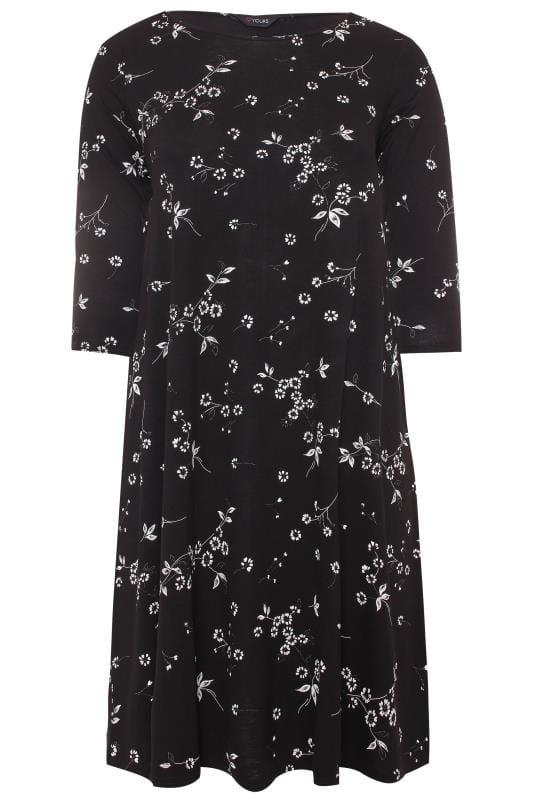 Black & White Floral Swing Dress