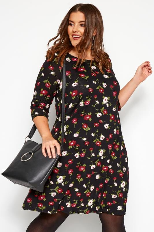 Plus Size Casual Dresses Black & Red Floral Swing Dress
