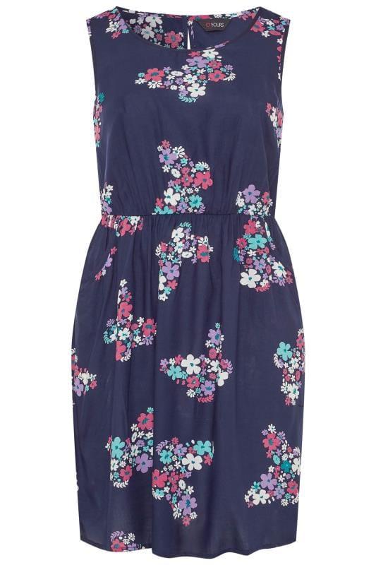Plus Size Casual Dresses Navy Butterfly Print Pocket Skater Dress