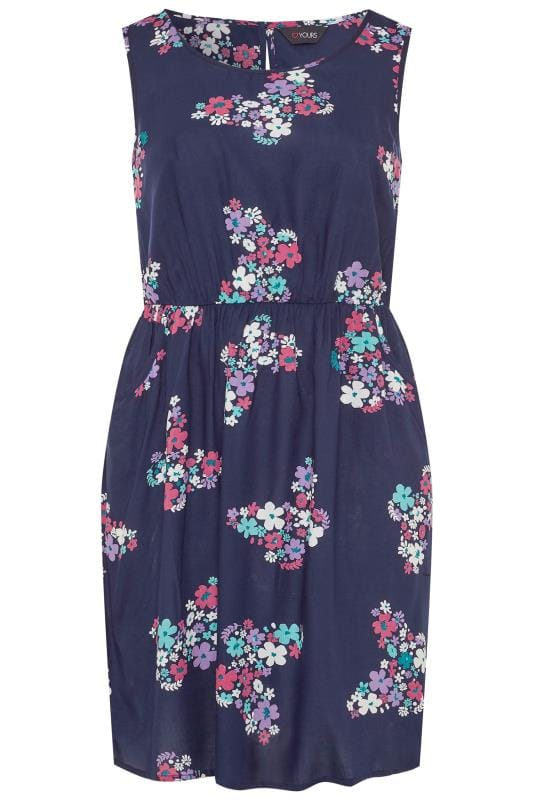 Casual Dresses Navy Butterfly Print Pocket Skater Dress