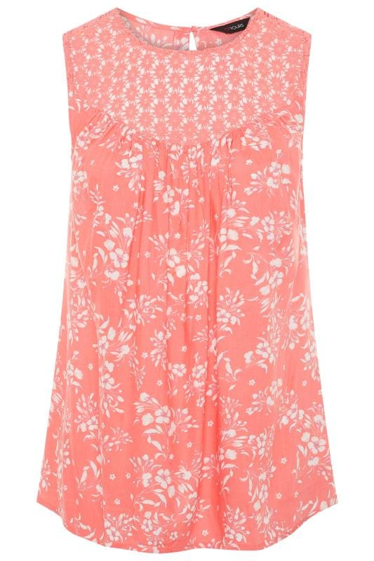 Coral Pink Sleeveless Floral Crochet Top