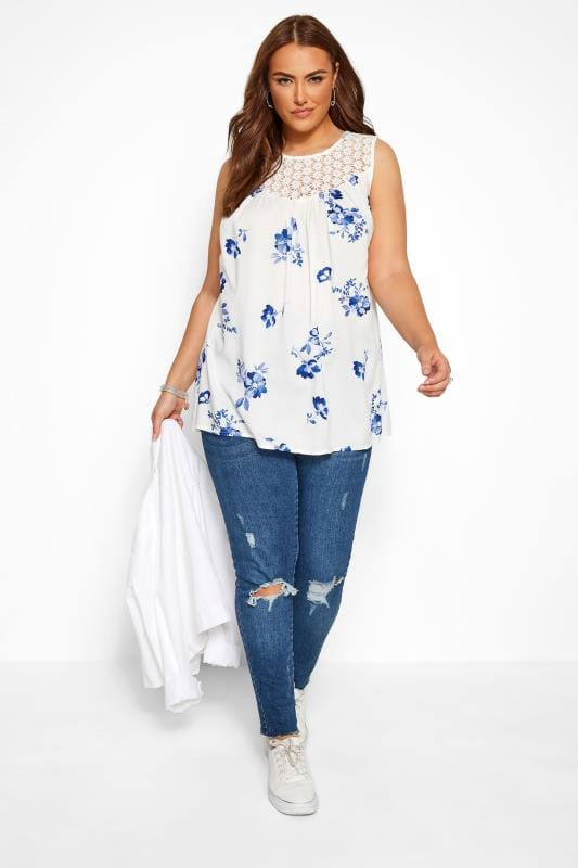 White & Blue Sleeveless Floral Crochet Top