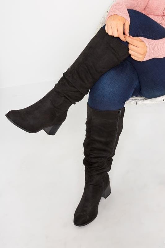 Plus Size Knee High Boots Black Knee High Ruched Heeled Boots In Extra Wide Fit