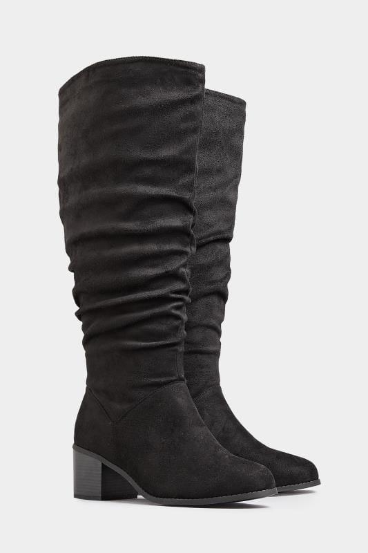 Kniehohe Stiefel mit Raffung in weiter Passform - Schwarz