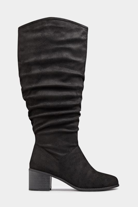 Black Knee High Ruched Heeled Boots In Extra Wide Fit