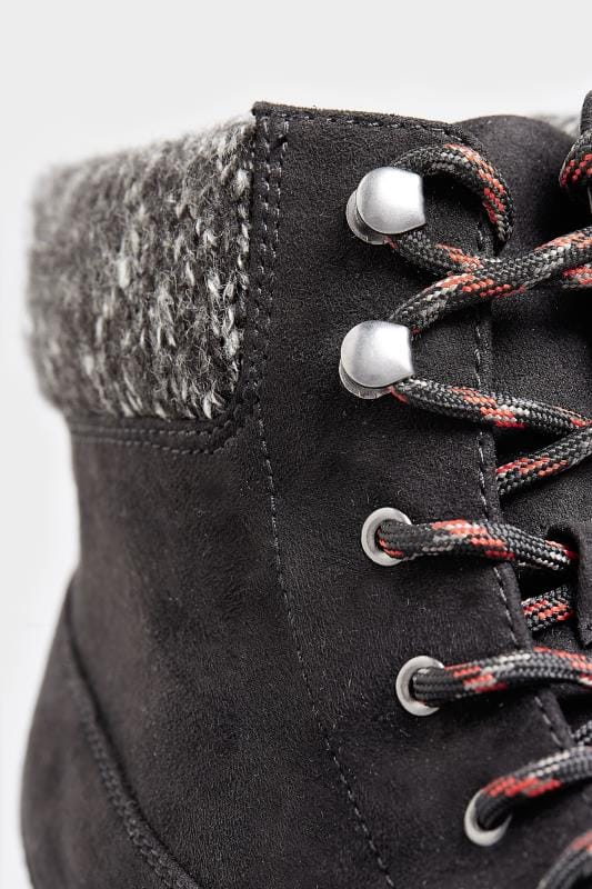 Hiker boots met vetersluiting in zwart