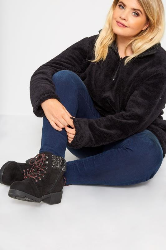 Black Hiker Lace Up Ankle Boots In Extra Wide Fit