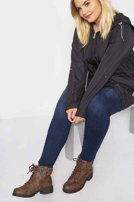 Wide Fit Ankle Boots Brown Hiker Lace Up Ankle Boots In Extra Wide Fit