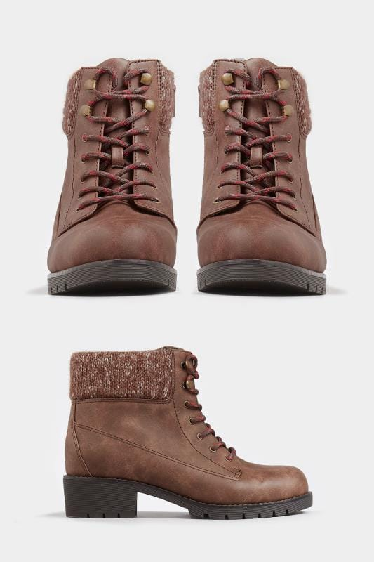 Brown Hiker Lace Up Ankle Boots In Extra Wide Fit