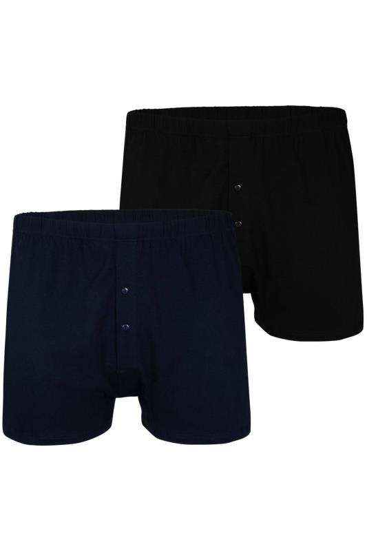 Plus Size Boxers & Briefs ESPIONAGE 2 PACK Black & Navy Cotton Trunks