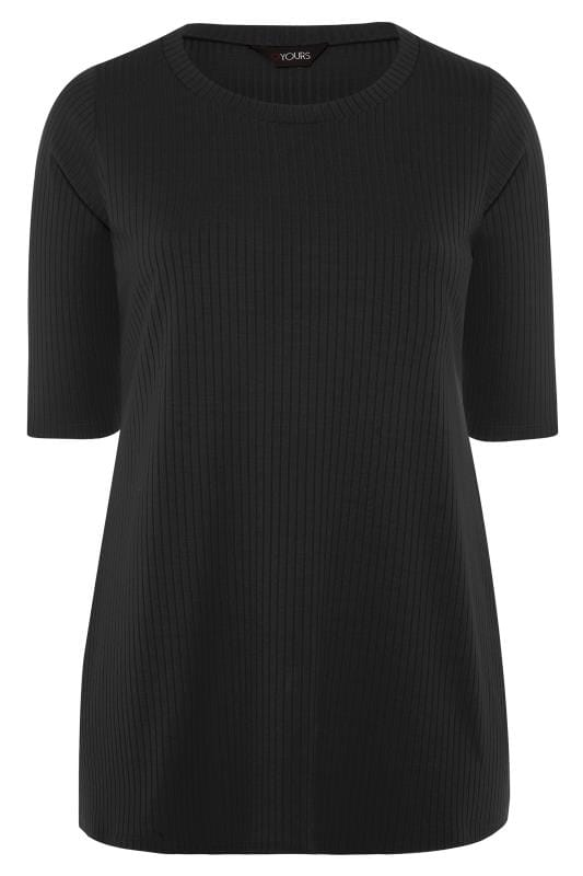 Plus Size Jersey Tops Black Ribbed Top