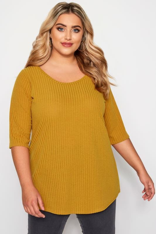 Plus Size Day Tops Mustard Yellow Ribbed Top