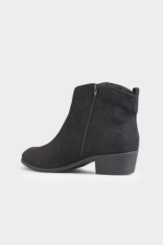 Black Western Ankle Boots In Extra Wide Fit