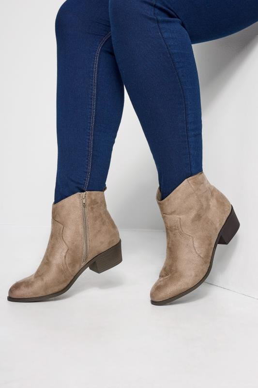 Wide Fit Ankle Boots Taupe Western Ankle Boots In Extra Wide Fit
