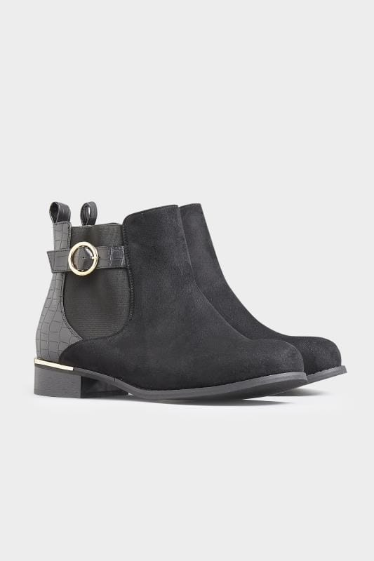 Black Faux Suede Croc Effect Chelsea Boots In Extra Wide Fit