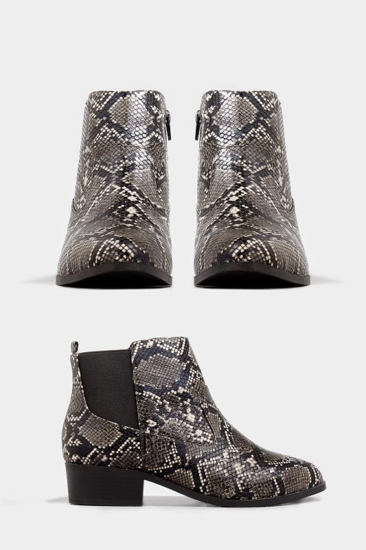 Grey Snakeskin Effect Chelsea Boots In Extra Wide Fit