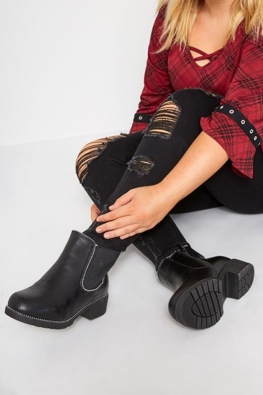 Wide Fit Ankle Boots Black Studded Chelsea Boots In Extra Wide Fit