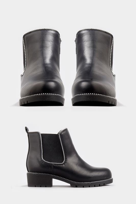 Black Studded Chelsea Boots In Extra Wide Fit